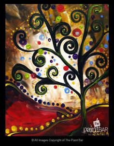 Funky Tree at Dusk Painting - Jackie Schon, The Paint Bar