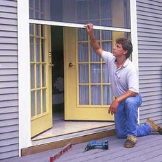 How to Install a Retractable Screen Door May be awesome for the sliding french doors? p May be awesome for the sliding french doors How to Install a Retractable Screen Door May be awesome for the sliding french doors p French Doors, Door Installation, Retractable Screen Door, Home Repair, Home Remodeling, Home Repairs, Screened Porch, Porch, Doors