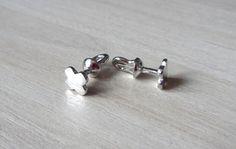 Silver Stud Earrings Studs Lucky Clover by RedSilverStudio on Etsy