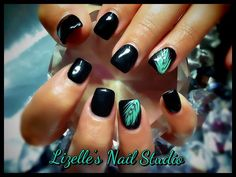 Black and mint nails