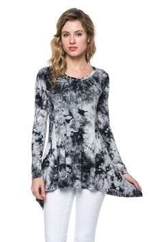 Womens Long Sleeve Tie Dye Spandex Tunic Hi Low Tunic Top at Amazon Women s  Clothing store e453a1e04