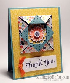 Fun Folds are always a favorite.  You can check out a tutorial how to make this card www.stampstodiefor.com #funfolds #polkadotpieces #stampset