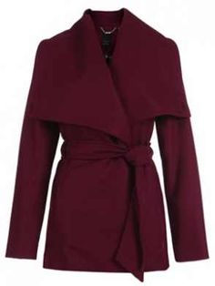 Olivia's color palette is made up of neutrals and soft pastels.Ted Baker for ADIRI offers a wool wrap coat that makes a statement with this oversized collar. Don't you just love the deep raspberry red tone.