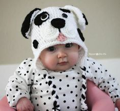 "I had the urge to create another puppy hat but wanted to try different ""mouth"" design. And since I came across this black polka dotted shirt in a bag of hand-me-downs for my daughter, I just had to make a Dalmatian Dog to match The basic pattern is the same as my Puppy Hat Pattern …"