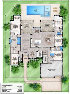 Coastal Contemporary 1 Story Home Design-South Florida Design Florida House Plans, Florida Home, South Florida, Bedroom Layouts, House Layouts, Dream House Plans, House Floor Plans, Architectural Design House Plans, Architecture Design