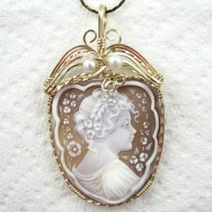 Italian Cameo Jewelry | Enormous Italian Hand Carved Shell Cameo Pendant 14K Rolled Gold