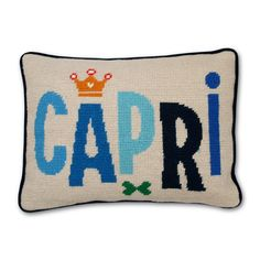 Modern Needlepoint Accent Pillows | Capri Needlepoint Throw Pillow | Jonathan Adler