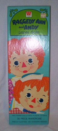 1975 Raggedy Ann and Andy Paper Dolls Sturdy Dolls Paper Clothes Some Unused