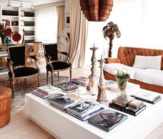 An Oversized White Coffee Table