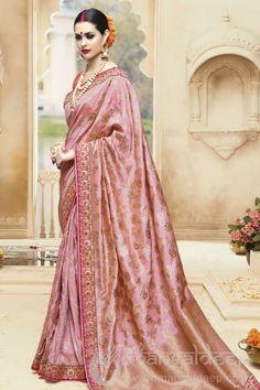 Charming Baby Pink Banarsi Silk Designer Saree
