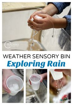 Rainy Weather Sensory Bin for Preschoolers Add some hands-on fun to your preschool weather theme with this rainy day sensory bin! A bit of science and fine motor are added, too! Weather Activities Preschool, Teaching Weather, Weather Science, Weather Unit, Preschool Themes, Preschool Lessons, Sensory Activities, Infant Activities, Rainy Weather