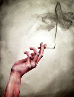 hand holding cigarette in watercolor