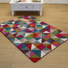 Multi Colour Geometric Rug - Buy Now Free Delivery - Land of Rugs