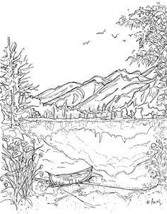 Serenity Jasper Landscape Printable Coloring Page Canoe Mountain Lake Instant Download Original Ink Pen Drawing By Aeris Osborne