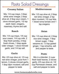 6 Pasta Salad Dressi