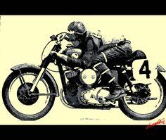 Tableau peinture acrylique moderne pop art coloré moto course ancienne vintage deco noir blanc gris