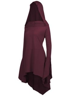 e90d8d14429 Long Flare Sleeve Plus Size High Low Hoodie - BORDEAUX 4XL Fashion 2017