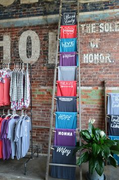 store front, t-shirts industrial