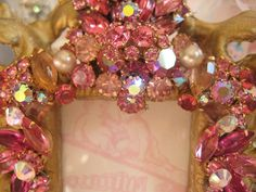 vintage pink jeweled frame by mylulabelles@flickr