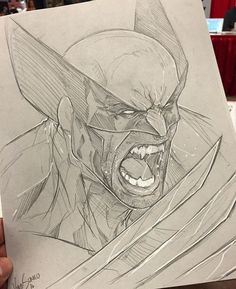 Marvel Drawing Wolverine Sketch by Vince Sunico at Montreal Comic Con Superhero Sketches, Drawing Superheroes, Drawing Cartoon Characters, Marvel Drawings, Comic Book Characters, Cartoon Drawings, Cool Drawings, Character Drawing, Comic Book Artists