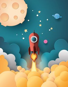 Space Rocket Launch And Galaxy . How do you do paper art style? :D Space rocket launch and galaxy . Space Illustration, Travel Illustration, Galaxy Art, Galaxy Space, Modelos 3d, Stop Motion, Art Plastique, Motion Design, Paper Cutting
