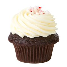 Dark Cocoa Cupcake with Peppermint Icing topped with crushed Peppermint candy