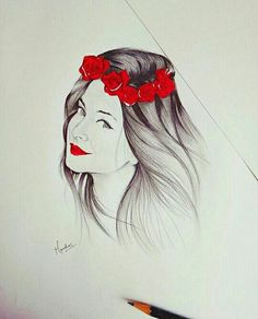 Pencil Drawings Of Girls, Cute Drawings, Cool Sketches, Drawing Sketches, Sketching, Drawing Ideas, Jennifer Winget Beyhadh, Best Friend Drawings, Girl Sketch