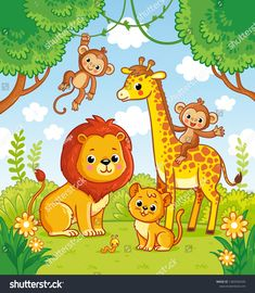 Find African Animals Jungle Lion Giraffe Vector stock images in HD and millions of other royalty-free stock photos, illustrations and vectors in the Shutterstock collection. Thousands of new, high-quality pictures added every day. Cute Doodles Drawings, Art Drawings For Kids, Drawing For Kids, Easy Drawings, Art For Kids, Jungle Cartoon, Cartoon Sea Animals, Cartoon Drawings Of Animals, School Painting