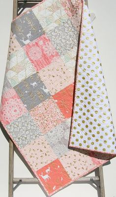 Rustic Baby Quilt, Girl Crib Bedding, Deer Blanket, Gold Shimmer, Coral Pink Grey Gray, Nursery Decor, Brambleberry, Woodland Nature This