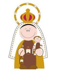 Virgen de Carmen Jesus Cartoon, Baptism Cookies, Insta Icon, Chibi, Mother Mary, Religious Art, Madonna, Catholic, Concept Art