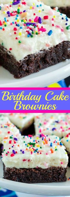 Birthday Cake Brownies - The BEST fudge brownies with birthday cake frosting! Birthday Cake Brownies - The BEST fudge brownies with birthday cake frosting! Birthday Brownies, Birthday Desserts, Köstliche Desserts, Delicious Desserts, Yummy Food, Best Birthday Cakes, Fudge Brownies, Brownie Cake, Brownie With Frosting