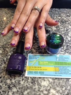 CND Shellac manicure, Rock Royalty & Moonlight n Roses w Additives Periwinkle Twinkle tips