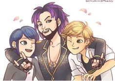 Marinette, Jagged Stone, and Adrien.