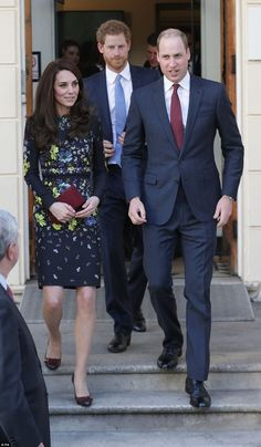Kate leaves the ICA with William and Harry who will tonightattend an awards ceremony recognising achievements of wounded servicemen and women