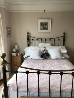 Home! Original Bedstead Bed and throw, Egyptian Cotton walls (by Dulux) and Laura Ashley curtains. Love my bed :-) Diy Wall Decor For Bedroom, Bedroom Door Design, White Bedroom Furniture, Modern Bedroom Design, Bedroom Themes, Bedroom Wall, Bedroom Ideas, Home Decor, Bedroom Green