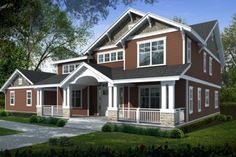 Craftsman Style House Plan - 5 Beds 3 Baths 3505 Sq/Ft Plan #100-459 Exterior - Front Elevation - Houseplans.com