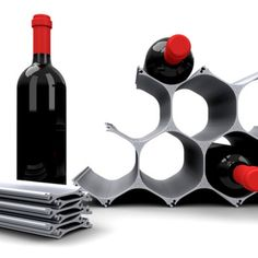Modular wine rack. Made from recycled aluminum, the WineHive is an eco-friendly honeycomb wine rack, with infinite add-on capability.