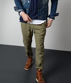 — Navy Crew-neck Sweater — White Long Sleeve T-Shirt — Navy Denim Jacket — Olive Chinos — Brown Leather Boots Olive Chinos, Mens Olive Pants, Green Jeans Mens, Green Chinos Men, Green Pants Men, Olive Shirt, Olive Green Pants, Green Vest, Denim Jacket Men