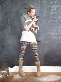 """If wearing """"crazy print"""" leggins, go with simple and long T and boots."""