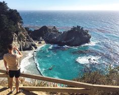 McWay falls waterfall, beach and cove overlooking the crystal clear Pacific Ocean!  Often dolphins and whales are spotted in the cove. This is super accessible just pull up on the Pacific coast highway and you're there! ☀️