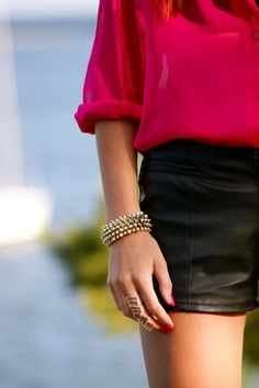 leather shorts + hot pink blouse