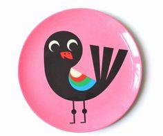 Original #pink #bird plate by #Ingela P #Arrhenius from www.kidsdinge.com  https://www.facebook.com/pages/kidsdingecom-Origineel-speelgoed-hebbedingen-voor-hippe-kids/160122710686387?sk=wall