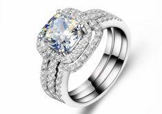 Trendy 2 Carat  Cushion Cut  NSCD Synthetic Diamond  Engagement Women Ring Three Rings Combine Wedding Ring