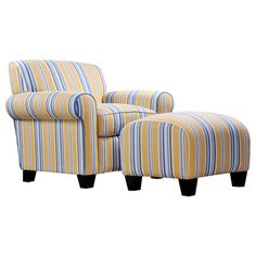 Handy Living WTK Transitional Rounded Arm Chair With Ottoman, Cabana Gold  And Blue Striped Design