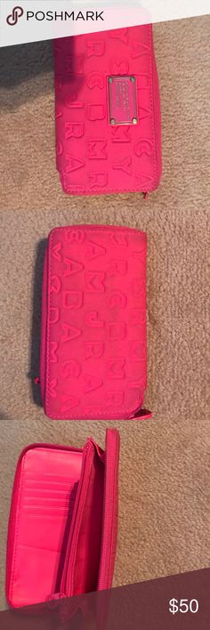 Marc Jacobs wallet Neon pink wallet by Marc Jacobs. Gently used. Marc Jacobs Accessories Key & Card Holders