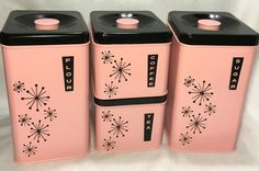 Vintage 50s Mid Century Pink Black Lincoln Beautyware Set Canisters Starburst | eBay