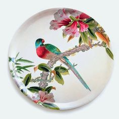 An Angel at my Table Exclusive - Chinoiserie Parrot trays Pottery Painting, Ceramic Painting, Ceramic Art, Chinoiserie, Ceramic Plates, Ceramic Pottery, Decorative Plates, Parrot Perch, Plate Art