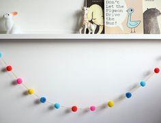 Pompom Garland  RACHEL I. by tinylittlestitches on Etsy, $24.00