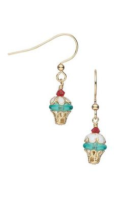 Jewelry Design - Cupcake Earrings with Czech Pressed Glass Beads, Swarovski Crystal Beads and Gold-Plated Bead Caps - Fire Mountain Gems and Beads