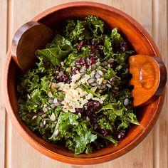 copycat- central market- kale, pepitas, crystallized ginger, cranberry salad